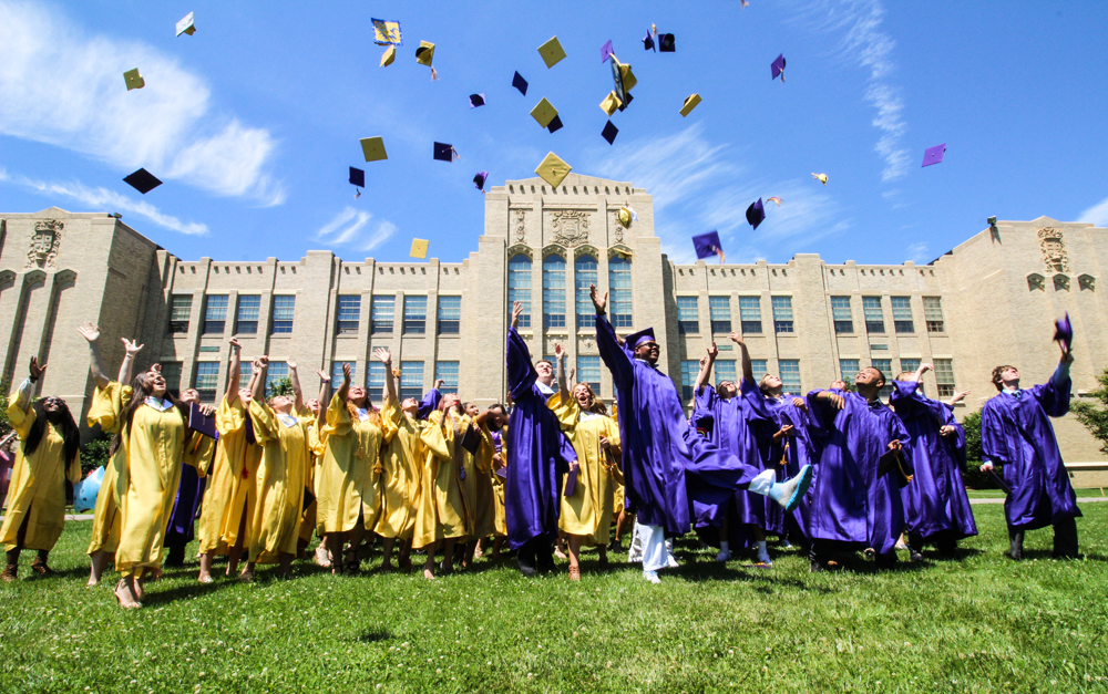 Greenport High School Class of 2017 cap toss. (Credit: Elizabeth Wagner)
