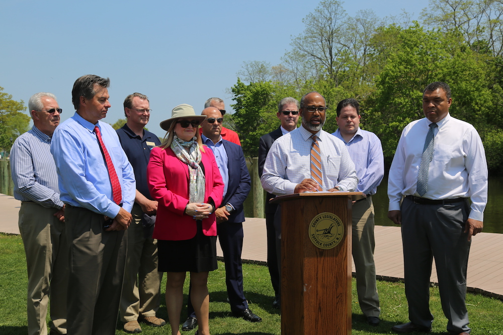 DuWayne Gregory, Suffolk County Legislature's presiding officer, announces the creation of a 15-member Marine Industry Revitilization Advisory Council Tuesday afternoon.