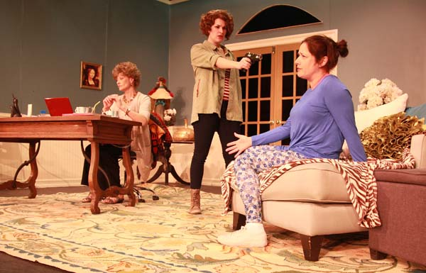 "From left: Susan Trojanoski Hedges, Kelsey Cheslock and Michelle Corbett rehearse a scene from the comedy ""The Female of the Species."" (Photos: Rory MacNish/North Fork Community Theatre)"