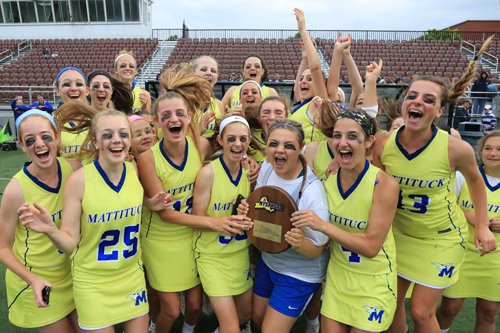 Mattituck Girls Lacrosse celebrates their victory over Carle Place at Adelphi University in Garden City on June 4, 2017.