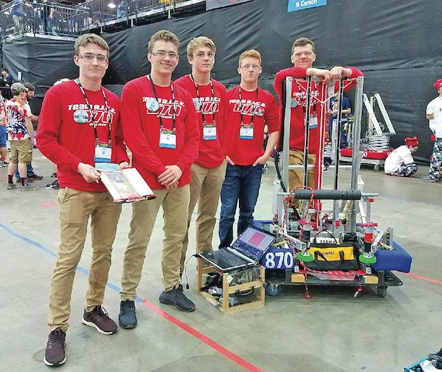 Team RICE 870's drive team, which controls the robot during competition, in Detroit. The team is made up of sophomores from Southold and Greenport high schools.