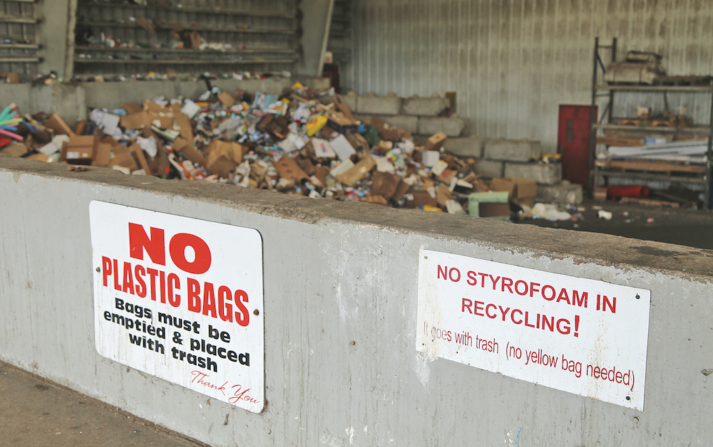 The Southold Transfer Station, where residents dump trash and recyclables, clearly states 'No Plastic Bags.' However, that is one of the most common contaminants in the recycling stream.