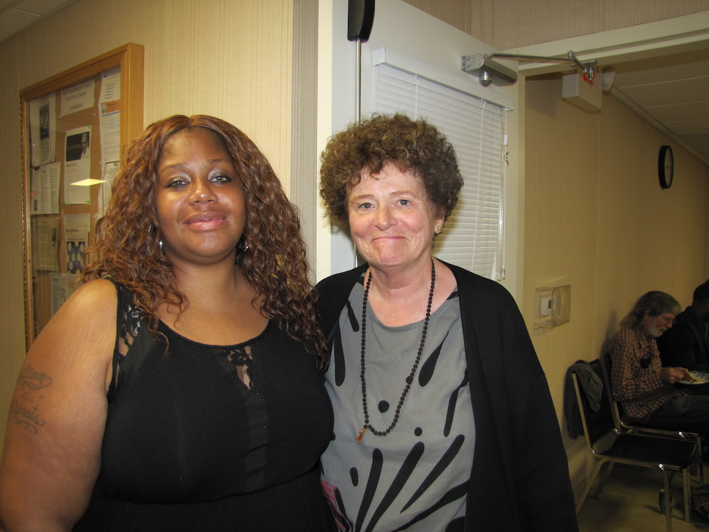 Shana Pippin and Judge Deborah Kooperstein at Tuesday's Drug Court graduation in Hampton Bays