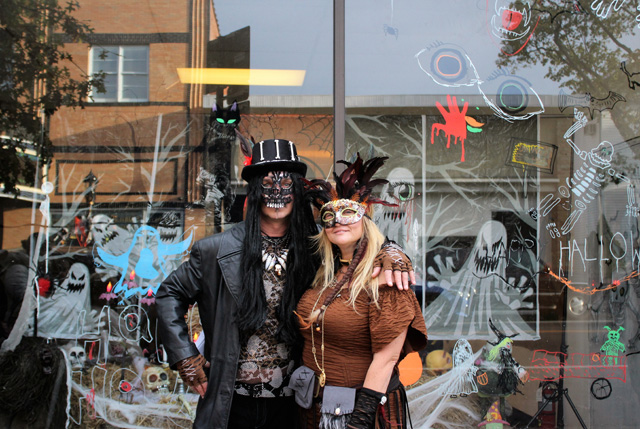John Golden and Diane Tucci dressed as Witch Doctors. Diane is one of the organizers of downtown Riverhead's 1st annual Halloween Fest and the Executive Director of the Riverhead Business Improvement District.