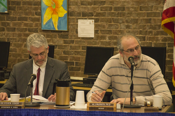 Superintendent Steven Cohen and board president William McGrath at Tuesday's school board meeting. (Credit: Paul Squire)