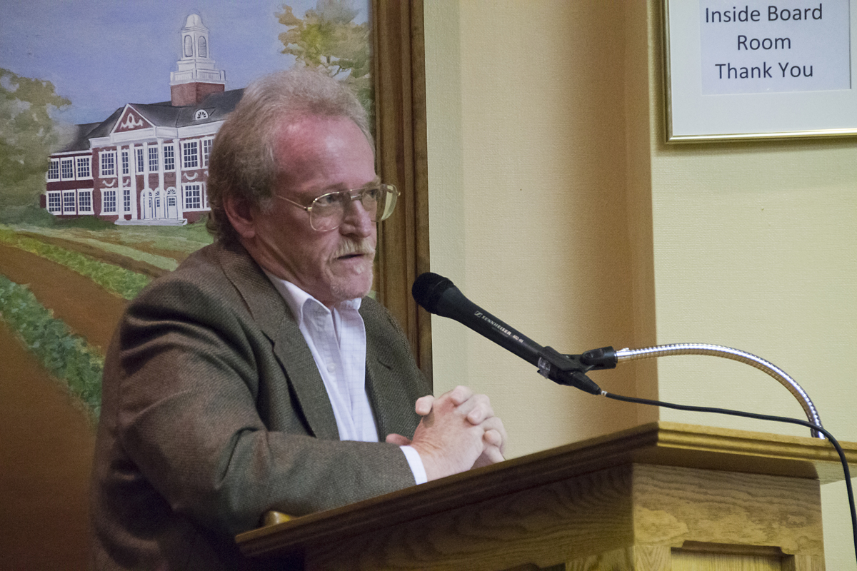 Former Lakewood resident Douglas Rosenbrock speaks before the Town Board Tuesday evening. (Credit: Paul Squire)