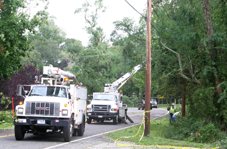 PETER BOODY FILE PHOTO | A LIPA crew at work to fix an outage following Tropical Storm Irene.