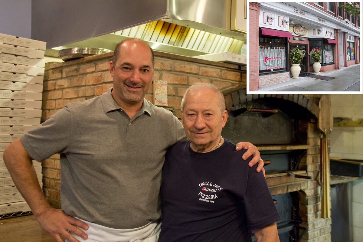 Parto's (inset) is under new ownership. Claudio (left) and Joe Sciara from Uncle Joe's pizzeria have taken over. (Credit: Paul Squire)