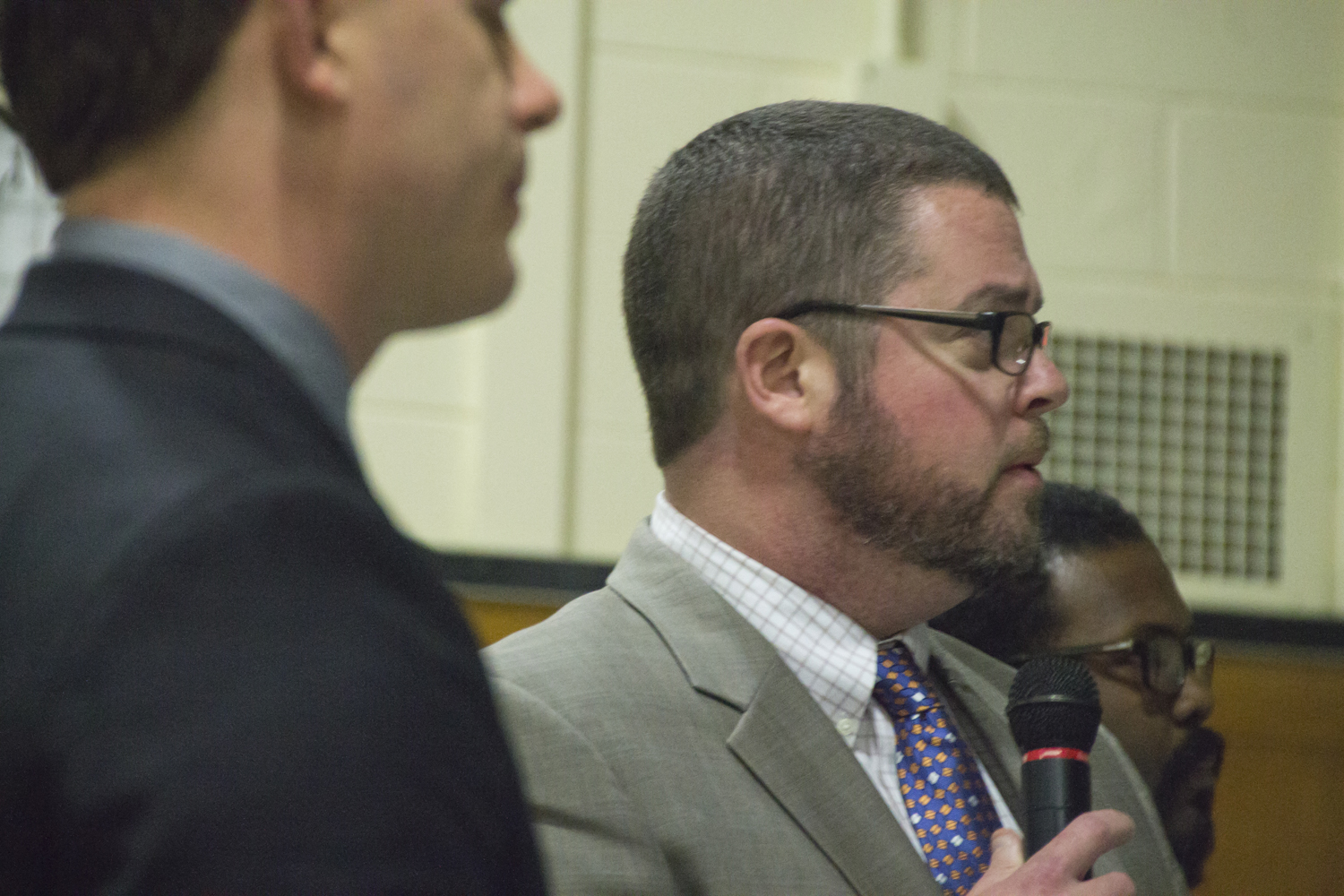 Assistant Superintendent David Wicks discusses Tuesday night possible ways to spend more than $2 million allocated to the district for technology upgrades. (Credit: Paul Squire)