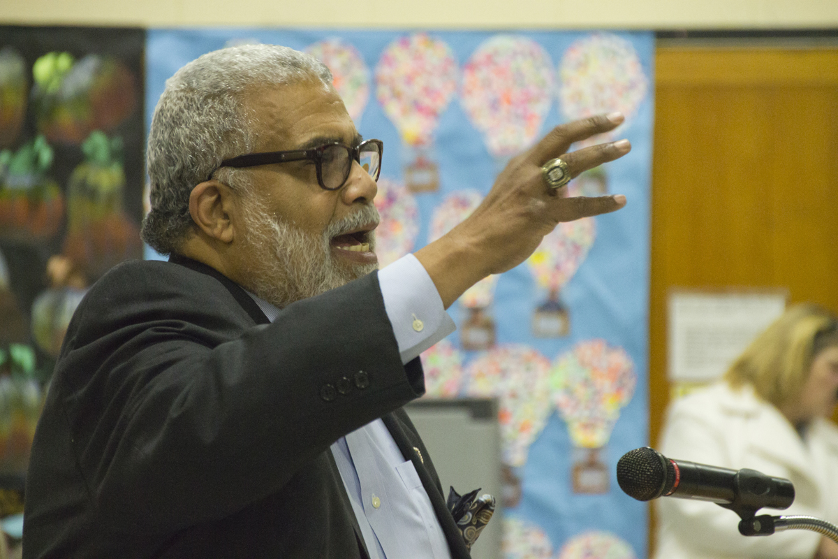 The Rev. Charles Coverdale speaks to the Riverhead school board at its meeting Tuesday night. (Credit: Paul Squire)