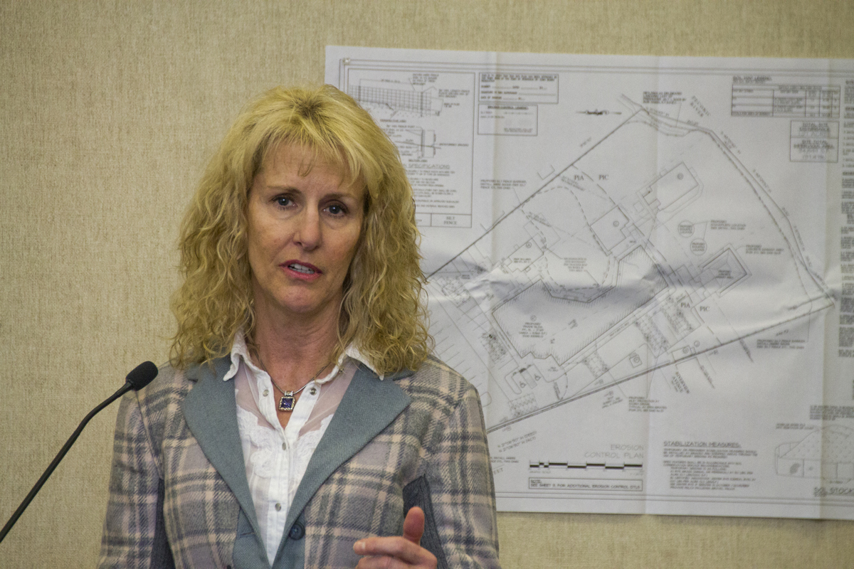 Kent Animal Shelter executive director Pam Green addresses the Pine Barrens Commission during a public hearing Wednesday. (Credit: Paul Squire)