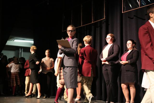Skylar Wowak plays principal Rosalie Mullins in 'School of Rock' at Riverhead High School this weekend. (Credit: Krysten Massa)