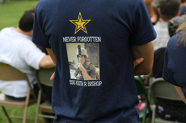 Many folks wore shirts honoring individuals or specific branches of the military. (Credit: Grant Parpan)