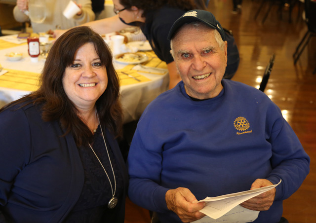 Rotarians Denise Calderone and Ed Goldstein.