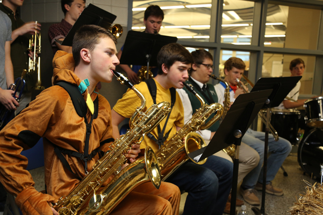 Members of the Riverhead High School Jazz Band perform Michael Jackson's 'Thriller' at Riverhead High School Key Club's Safe Halloween event.