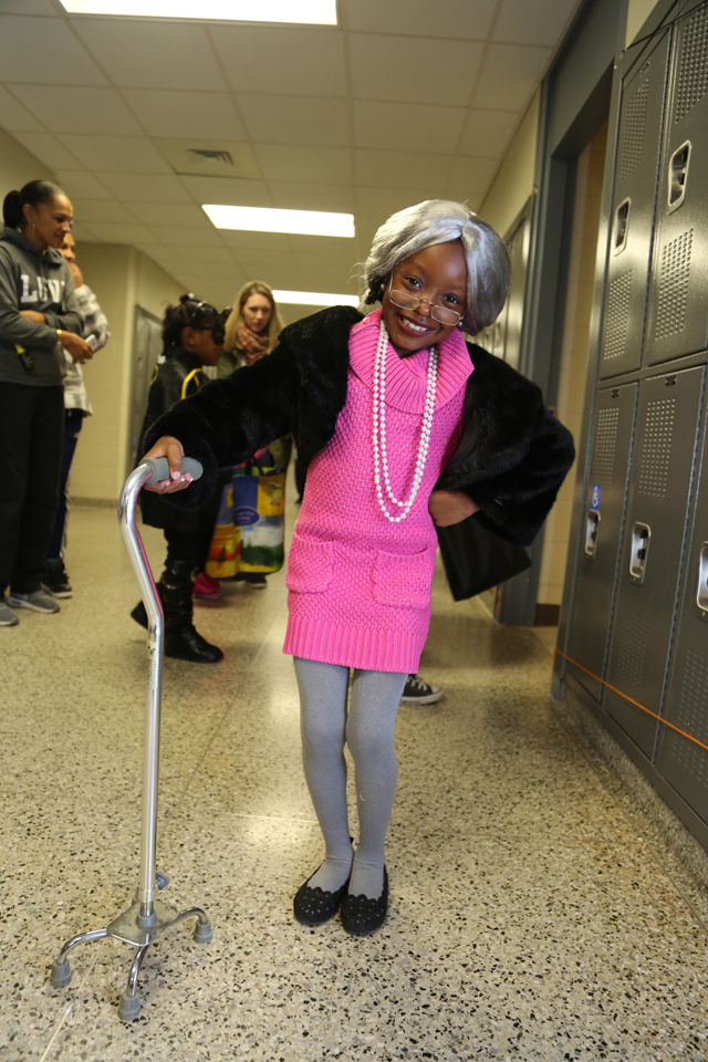 Seven-year-old Phillips Avenue student Zareah Rivero dressed up as a grandma for Riverhead High School Key Club's Safe Halloween event.