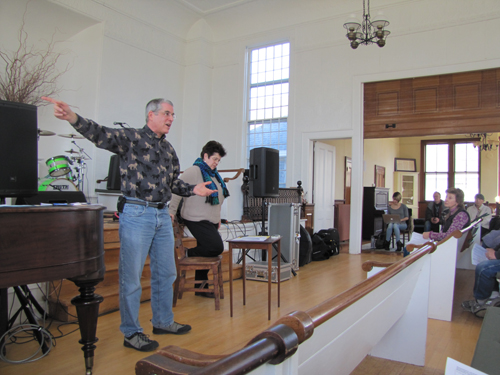 Larry Simms and Angela DiVito speak at Saturday's Civic Association meeting in Jamesport.