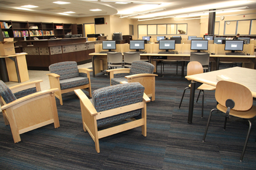 The Riverhead High School's new library was unveiled Tuesday. (Photos by Sandra Kolbo)