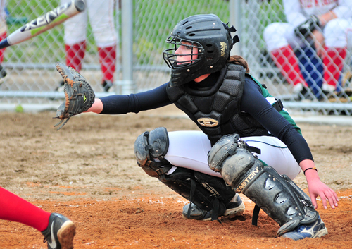 McGann-Mercy catcher Ali Hulse had both of Mercy's hits Friday against Center Moriches. (Credit: Bill Landon)