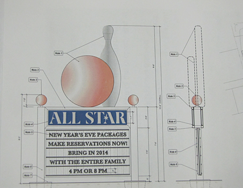 The proposed sign at The All-Star, which would have featured a large bowling ball and pin on top.