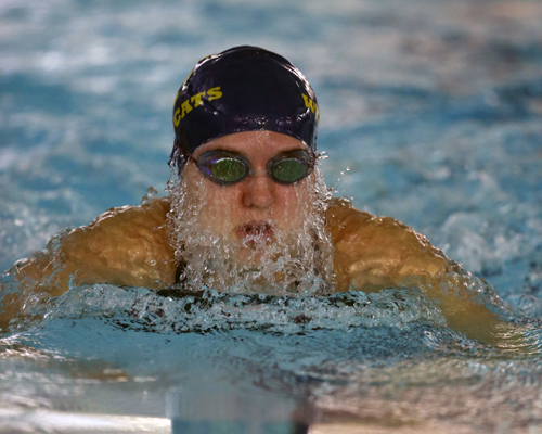 Emily Anderson of Shoreham-Wading River, pictured during a meet Oct. 17, will compete at the state championships. (Credit: Daniel De Mato)