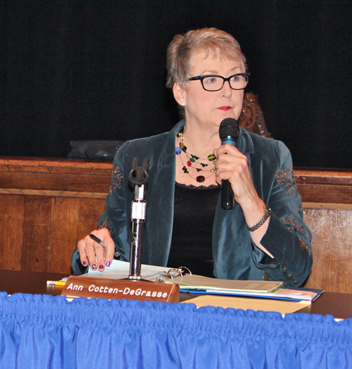 "JENNIFER GUSTAVSON FILE PHOTO | Riverhead School Board president Ann Cotten-DeGrasse is the East End Women's Network 2013 ""Woman of the Year."""
