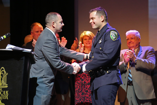 Anthony Montalbano is honored as Riverhead PBA's Cop of the Year. (Credit: Krysten Massa)