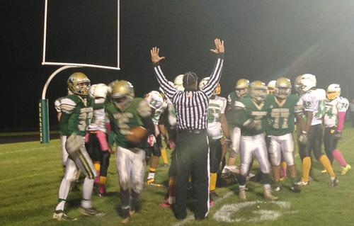 McGann-Mercy senior Reggie Archer (5) scored two touchdowns in Friday's win over Wyandanch. (Credit: Joe Werkmeister)