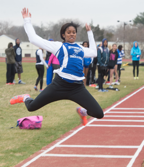 Riverhead senior Ashley-Ann Courts competes in the long jump Tuesday in a dual meet against Smithtown West. (Credit: Robert O'Rourk)