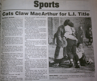 The Shoreham-Wading River softball team's Long Island championship was the lead story of June 11, 1992 sports section of the Riverhead News-Review.