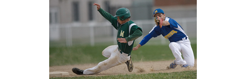 Bishop McGann-Mercy's Paul Annunziata stealing second base while Mattituck shortstop Marcos Perivolaris covers the bag during the second inning. (Credit: Garret Meade)