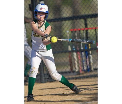 GARRET MEADE PHOTO | Ali Hulse swung for two hits and two runs batted in for Bishop McGann-Mercy in its comeback win over Southold/Greenport.