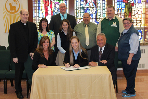 COURTESY PHOTO | Bishop McGann-Mercy senior Cassidy Lessard, flanked by her parents Kelly and Dave, signed a letter of intent to play tennis for Wagner College.