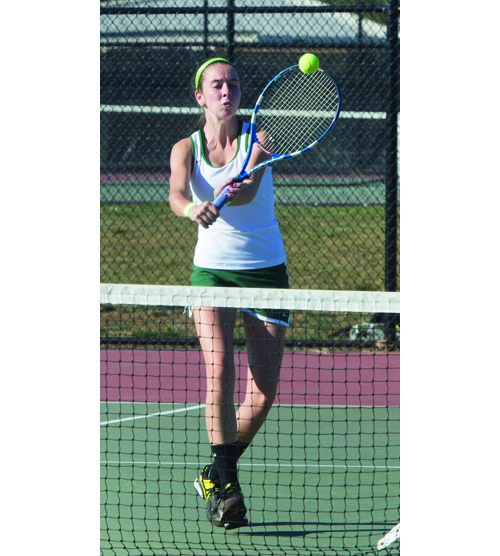 ROBERT O'ROURK PHOTO | Shannon Merker plays for one of Bishop McGann-Mercy's All-County doubles teams.