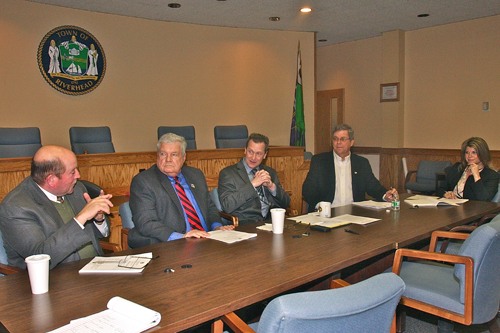 Riverhead town board members Jim Wooten, John Dunleavy, Supervisor Sean Walter, George Gabrielsen and Jodi Giglio
