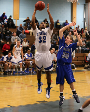 DANIEL DE MATO PHOTO  |  Riverhead junior Brandon Tolliver scored 10 of his 14 points in the fourth quarter.