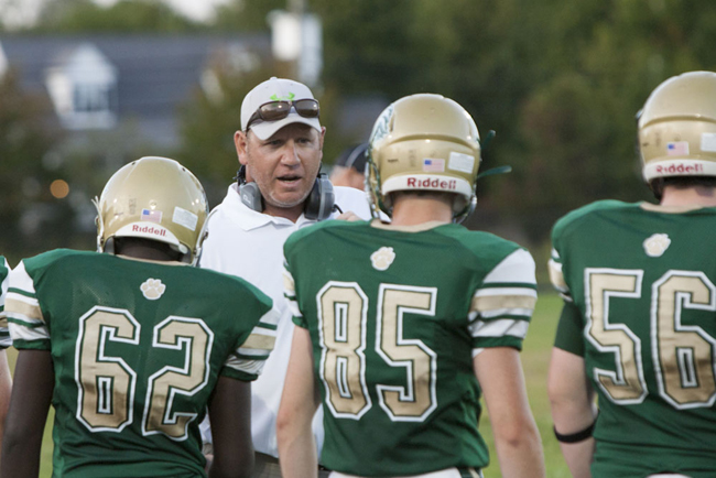 Mike Buck coached his first game at McGann-Mercy Friday. (Credit: Katharine Schroeder)