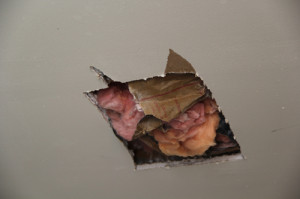 CARRIE MILLER PHOTO  |  A bullet grazed the ceiling and police cut a hole to investigate.