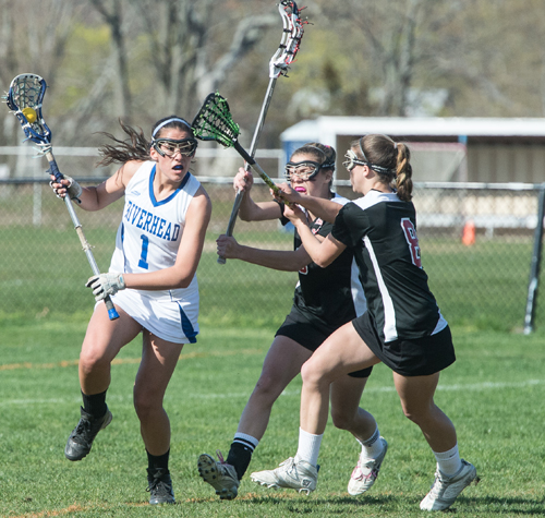 ROBERT O'ROURK PHOTO  |  Riverhead junior Carolyn Carrera scored five goals with a pair of assists in the Blue Waves' loss Tuesday to Patchogue-Medford.