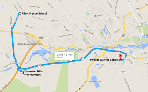 Residents are asking the Riverhead School District to allow Calverton Hills students to attend nearby Riley Avenue Elementary School.  Parents say the community was required to send its children to Phillips Avenue Elementary School in Riverside after the neighborhood was redistricted in the late 1990s. (Credit: Google Map screenshot by Jennifer Gustavson)