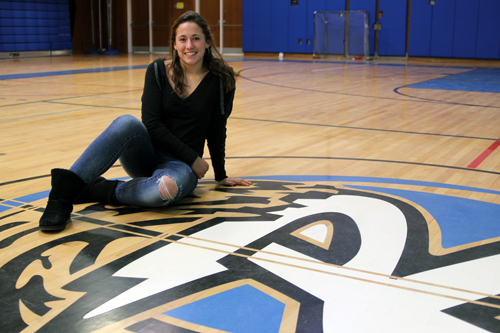 JENNIFER GUSTAVSON PHOTO | Riverhead senior Carolyn Carrera inside the school's gymnasium.