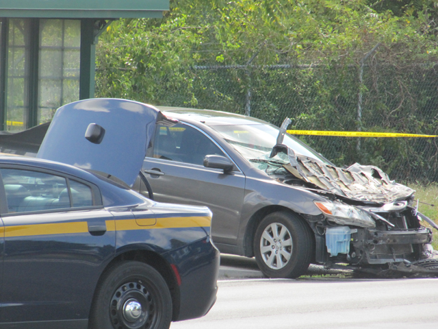 The damage to a vehicle that had been stolen Saturday afternoon. (Credit: Tim Gannon)
