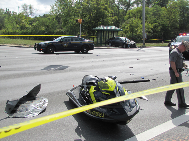 A SeaDoo jet ski was on a trailer that got struck by a stolen vehicle. (Credit: Tim Gannon)