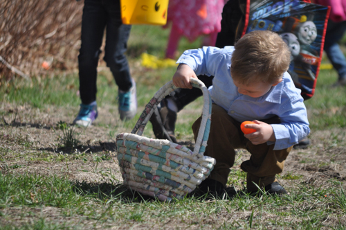 Three-year-old Christopher Ervin III of Flanders enjoying Saturday's egg hunt. (Credit: Cyndi Murray)
