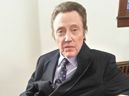 Christopher Walken at Temple Israel on Northville Turnpike Monday. (Credit: Judy Sky Leavitt)