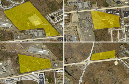 BING MAPS | (Clockwise from upper left) Costco, Saber Riverhead, Walmart, and Northville Commerce Park developments.