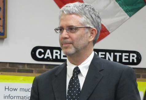 NEWS-REVIEW FILE PHOTO | Shoreham-Wading River superintendent Steven Cohen at the meeting to appoint him last June.