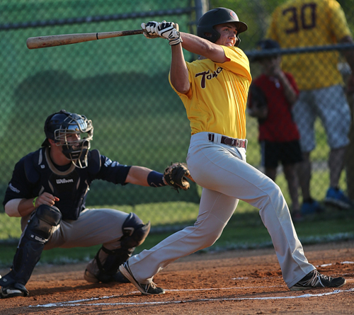 Tomcats' first baseman Colton Rice reached base three times Monday, including a solo home run in the eighth inning against the Ospreys. (Credit: Garret Meade)