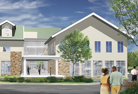 An artist rendering of the main atrium at the Family Community Life Center's recreational and other facilities.
