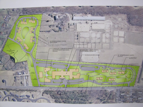 A map showing the location of the proposed assisted living center